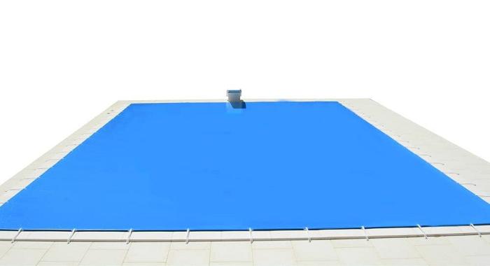 Cobertor de Invierno para Piscina 9,5 x 5m más 15 cm por Cada Lado para Anclaje (9,8 x 5,3m) de Color Azul (Exterior) / Negro (Interior)